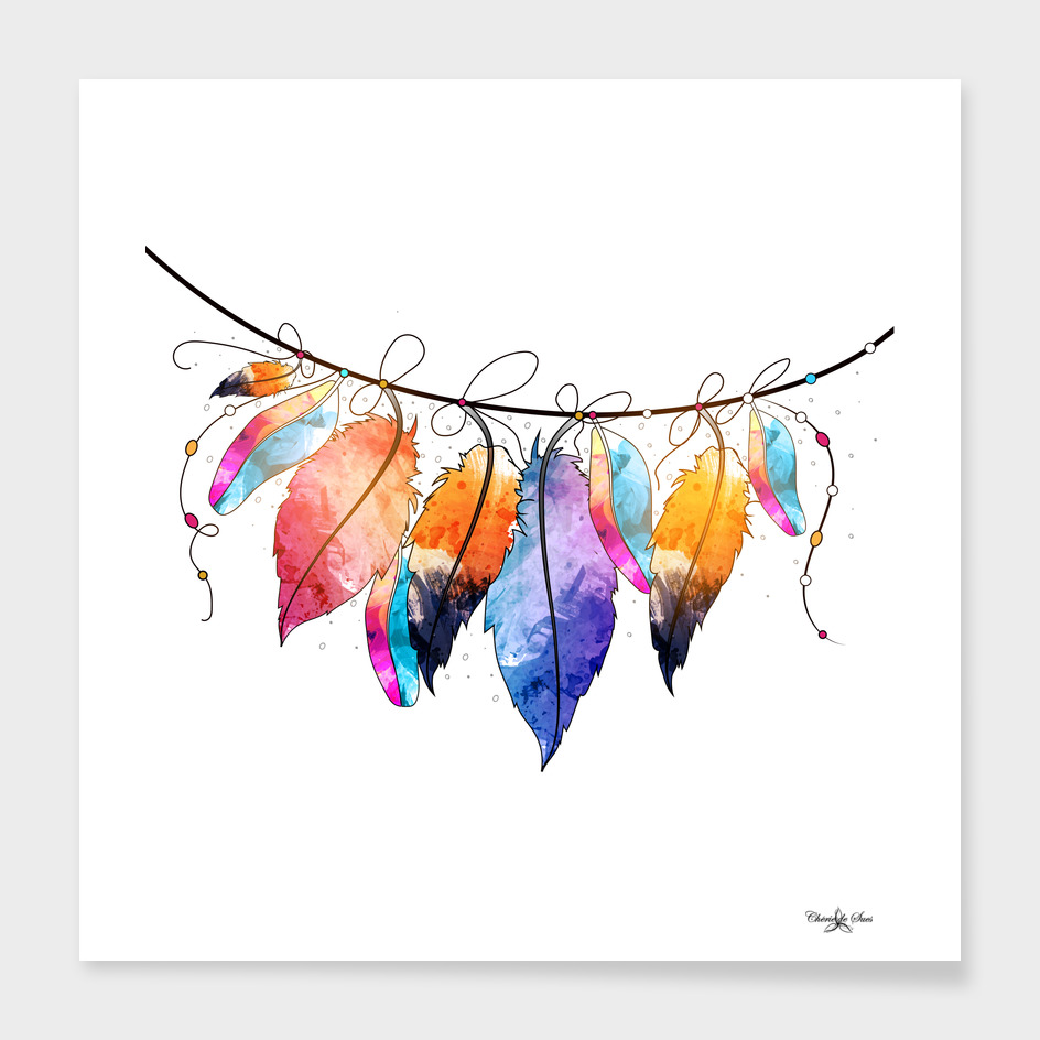 Colorful Watercolor Feathers On String
