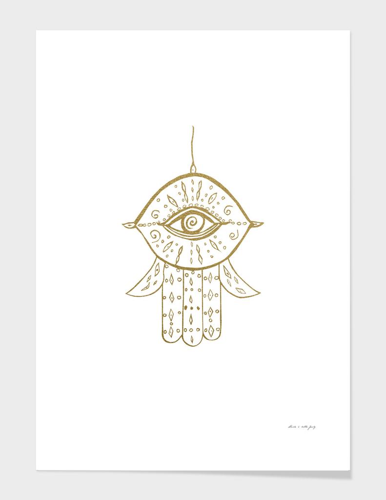 Hamsa Hand Gold On White 1 Drawing