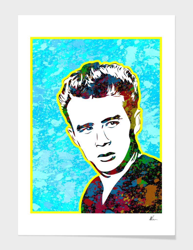 James Dean | Splatter Series | Pop Art | Blue