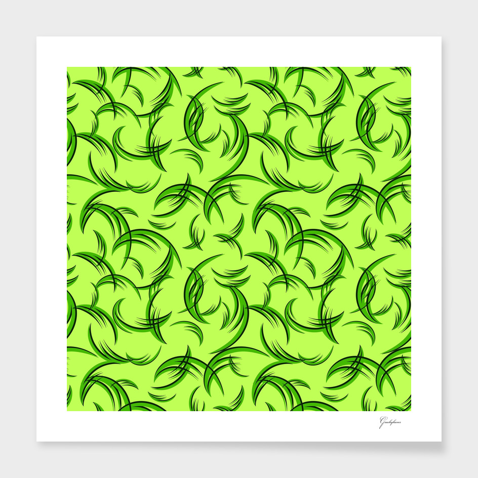 Green floral ornament of leaves and foliage.