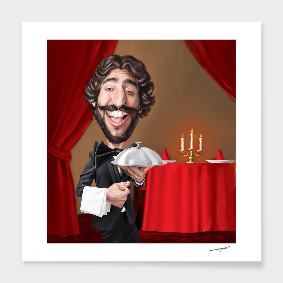 Caricatured Waiter Portrait