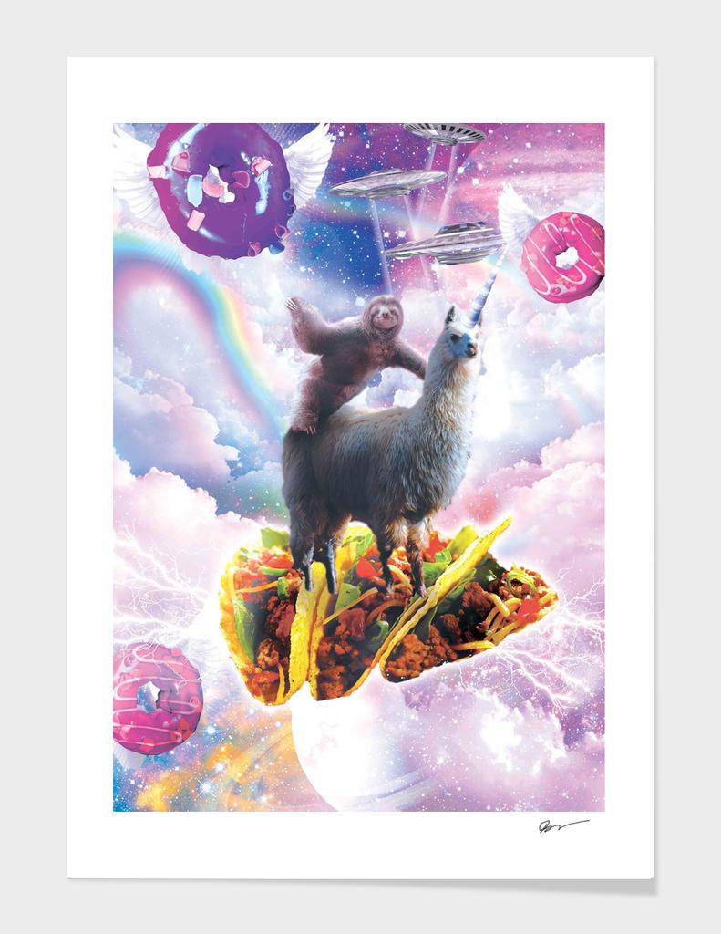 Space Sloth Riding Llama Unicorn - Taco & Donut
