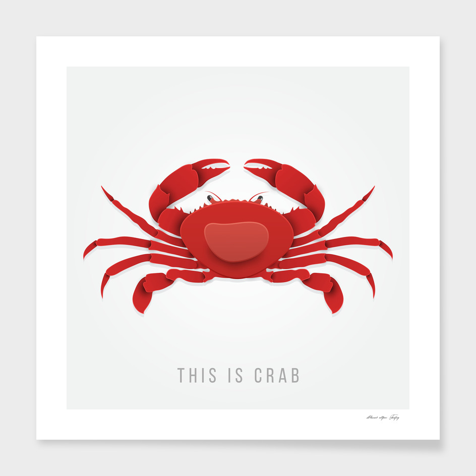 Crab vector in trendy paper cut craft style