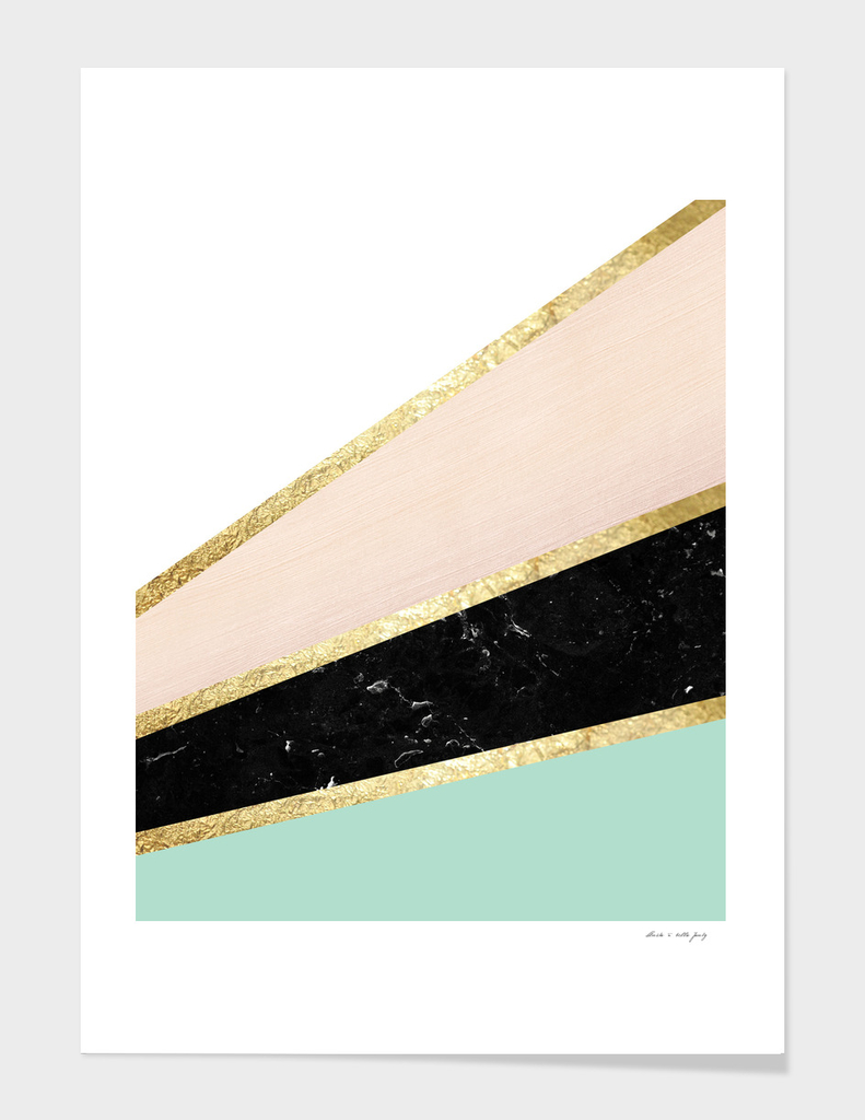 Mint, Blush, White, Black Marble and Gold Stripes Glam #1