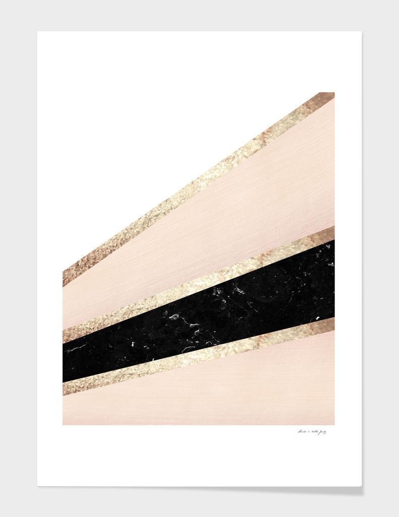 Blush, White, Black Marble and Rose Gold Stripes Glam #1