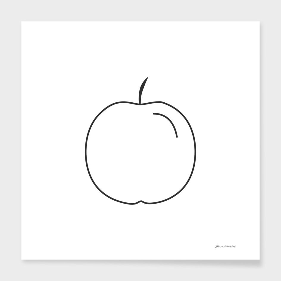 Apple icon in black flat outline design