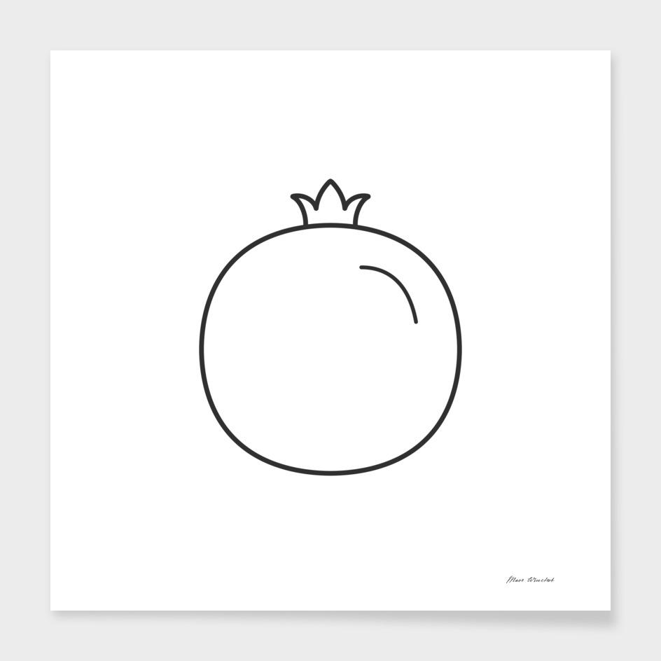 Pomegranate icon in black flat outline design