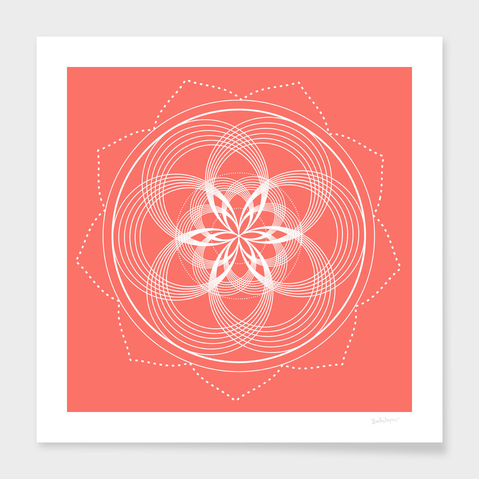 White Mandala On A Living Coral Background