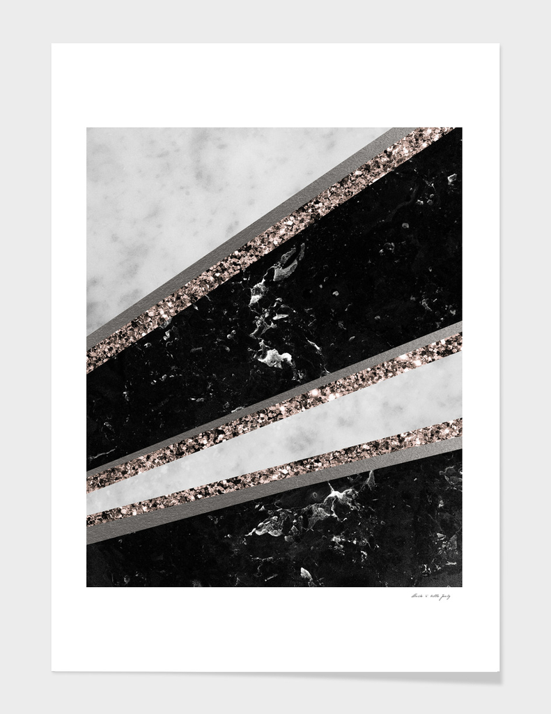 Black and White Marble Rose Gold Glitter Stripe Glam #1
