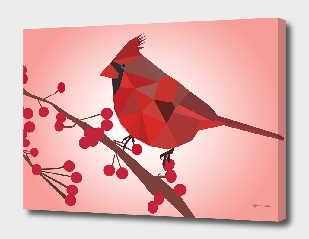 Northern Cardinal Bird LOW POLY ART