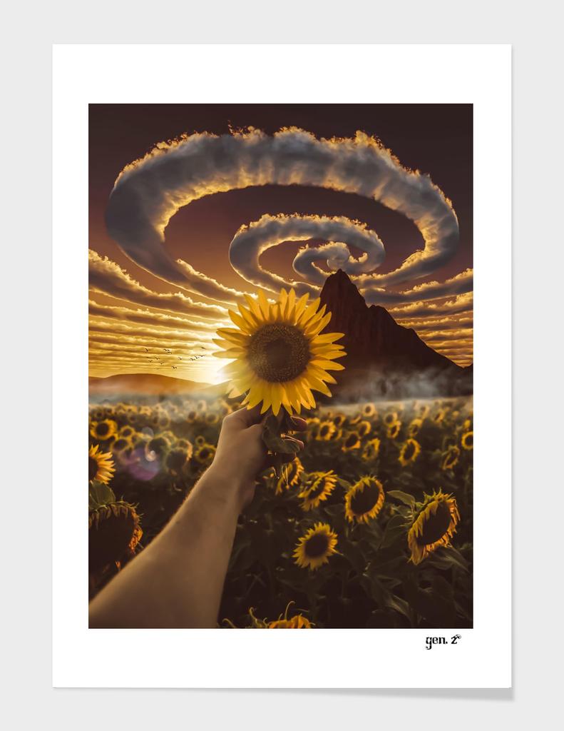 Sunflower and spiral clouds by GEN Z
