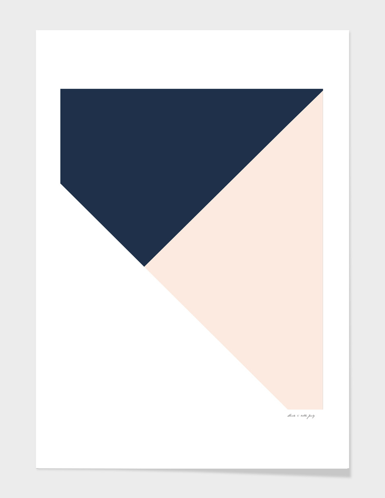 Navy Blue meets Blush & White Geometric #1 #minimal #decor