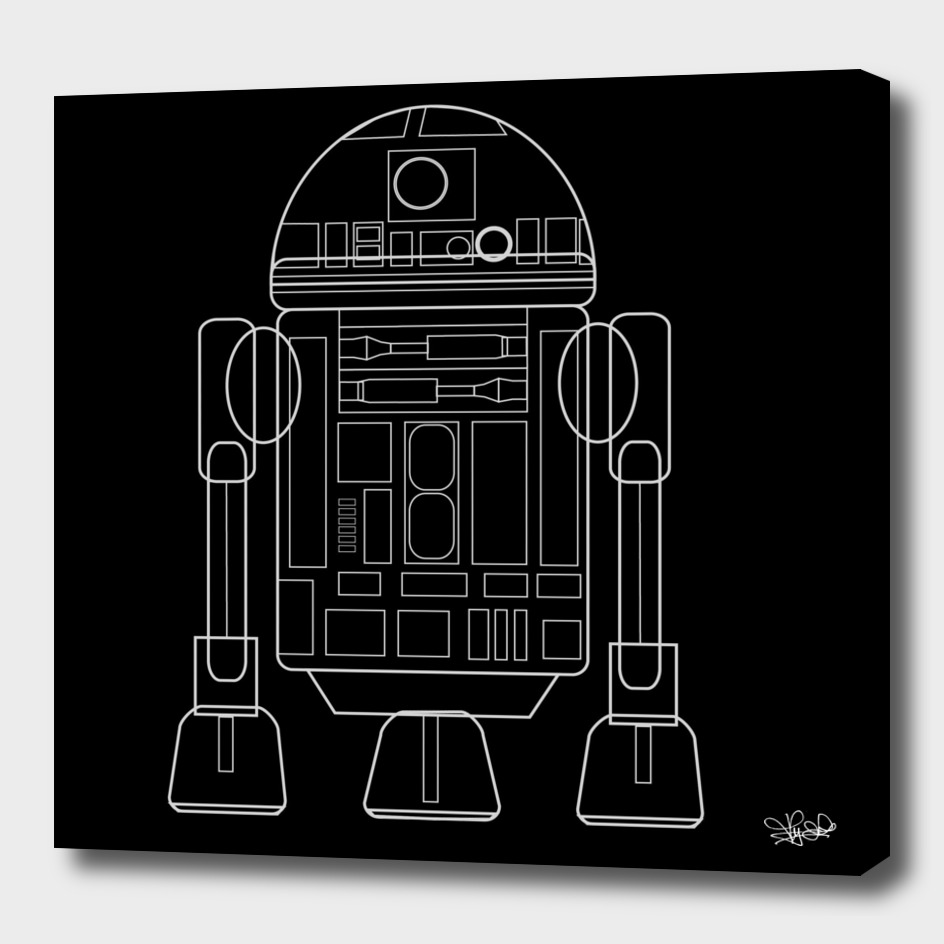 R2D2 black and white