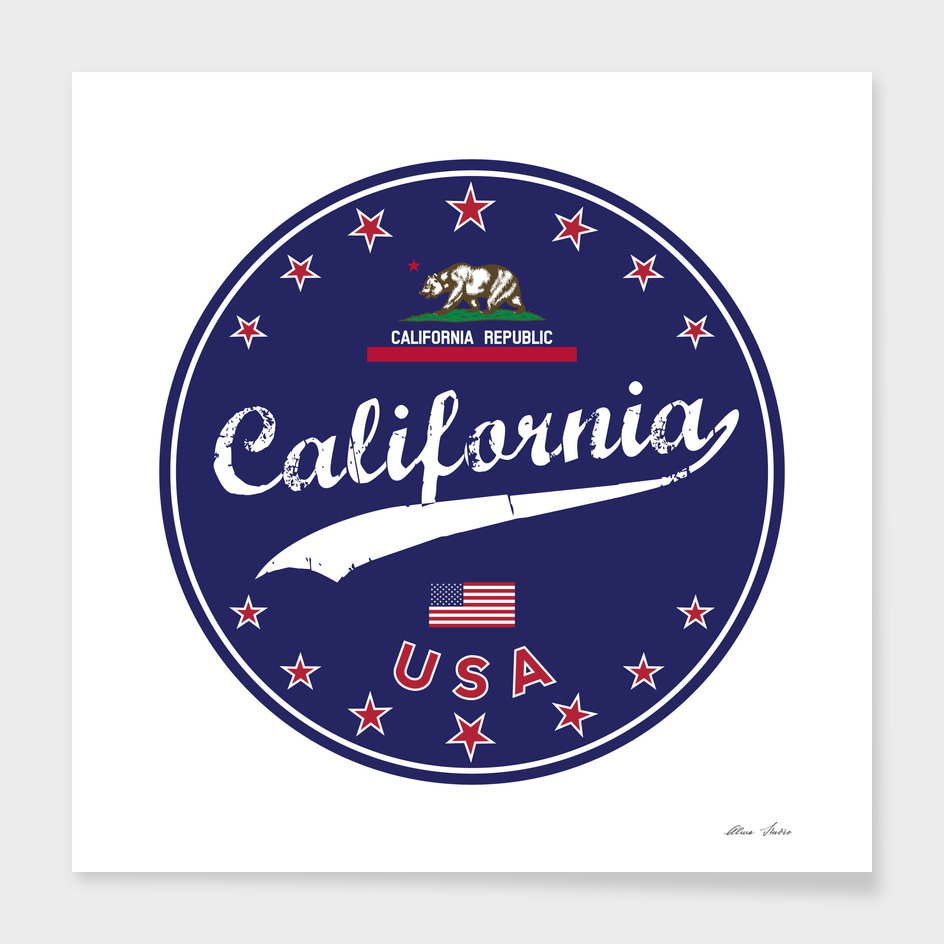 California, blue circle, California Tshirt