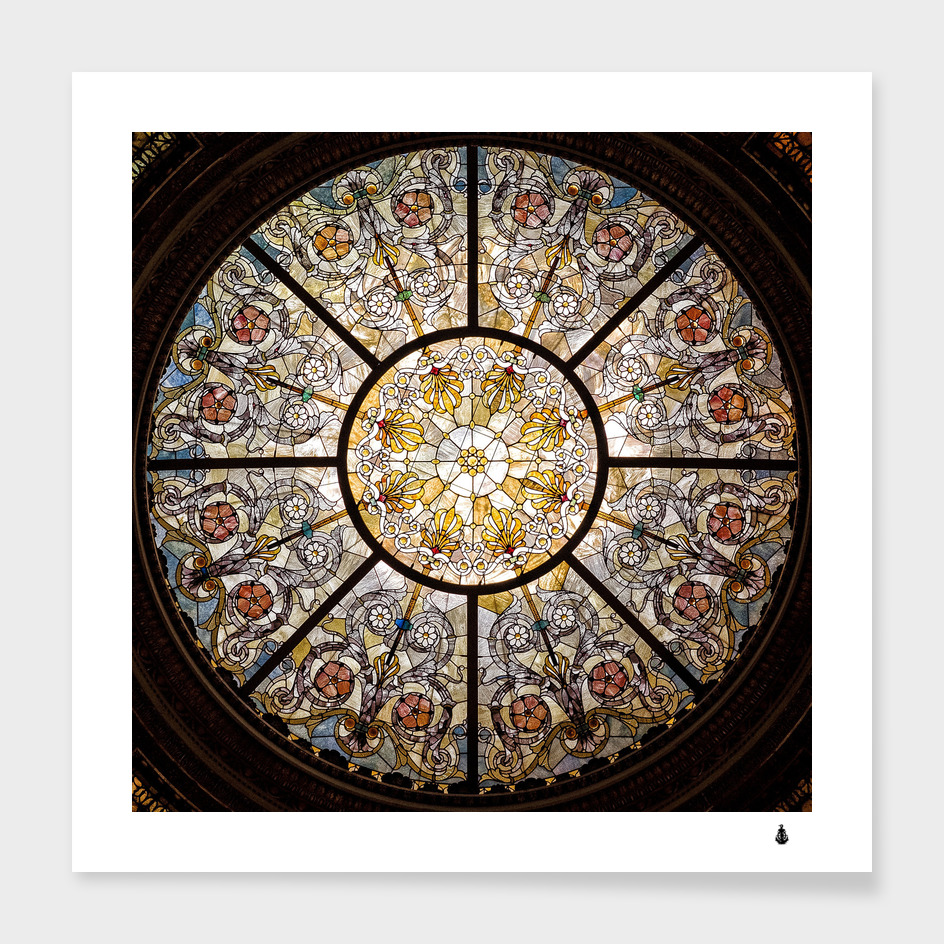 Stained glass window glass ceiling