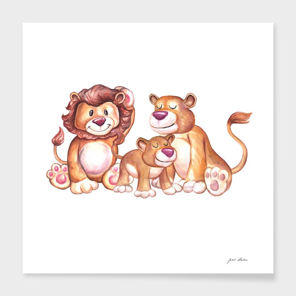 Custom Watercolor Lion Family