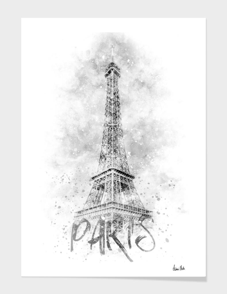 Monochrome Art EIFFEL TOWER | watercolor