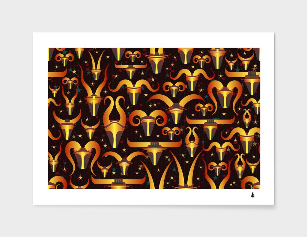 stylised horns black pattern