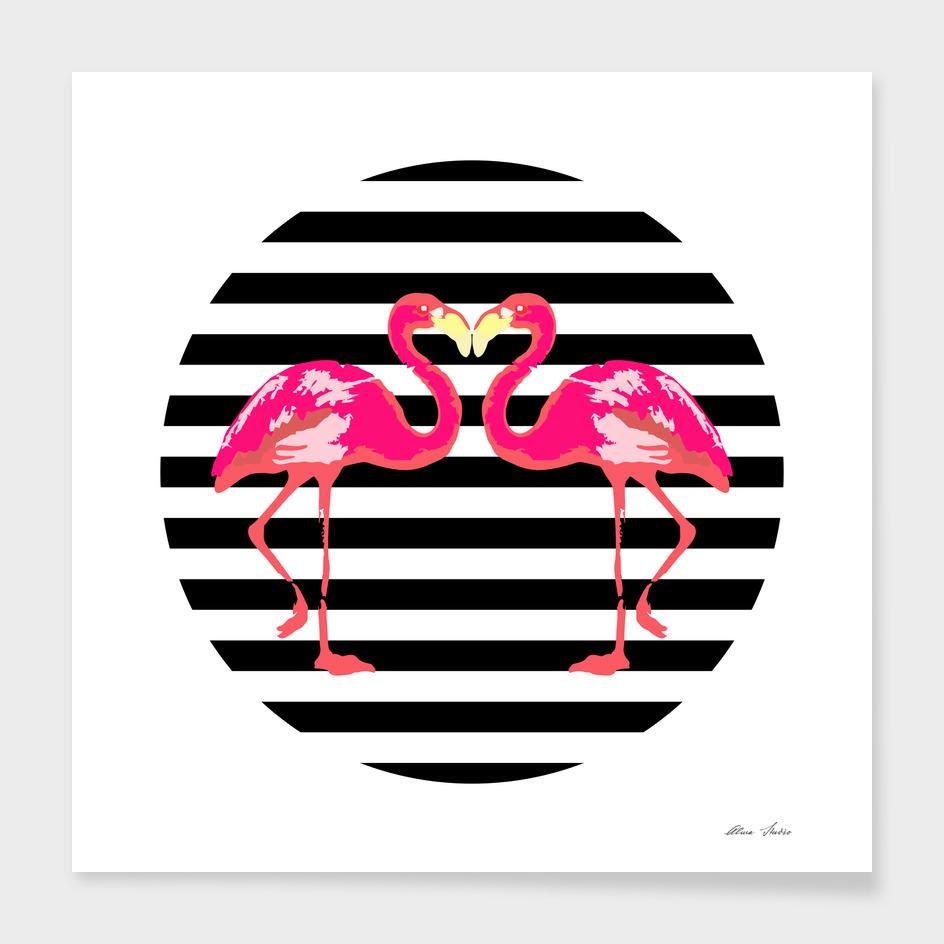 Flamingo, black stripes, summer design, summer poster,