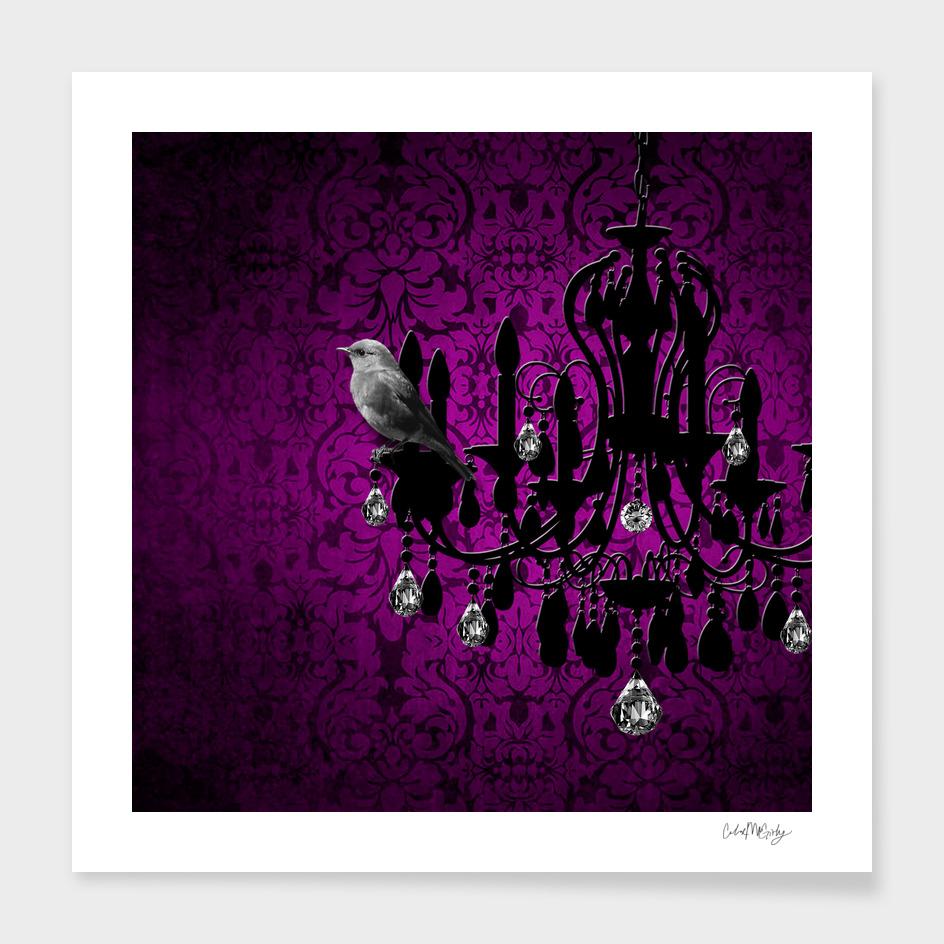 Bird & Purple Damask Sparkly Chandelier Silhouette