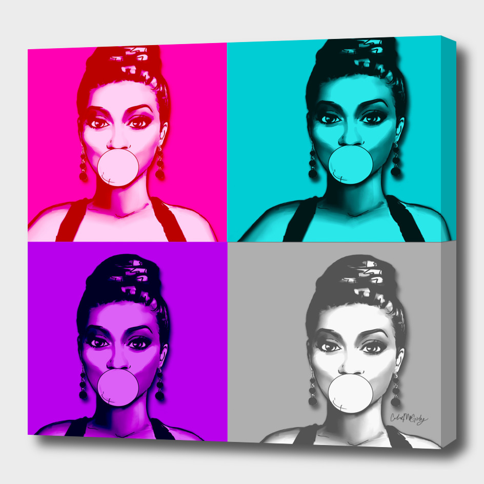 Retro Pinup Girl Bubble Gum Pop Art Collage