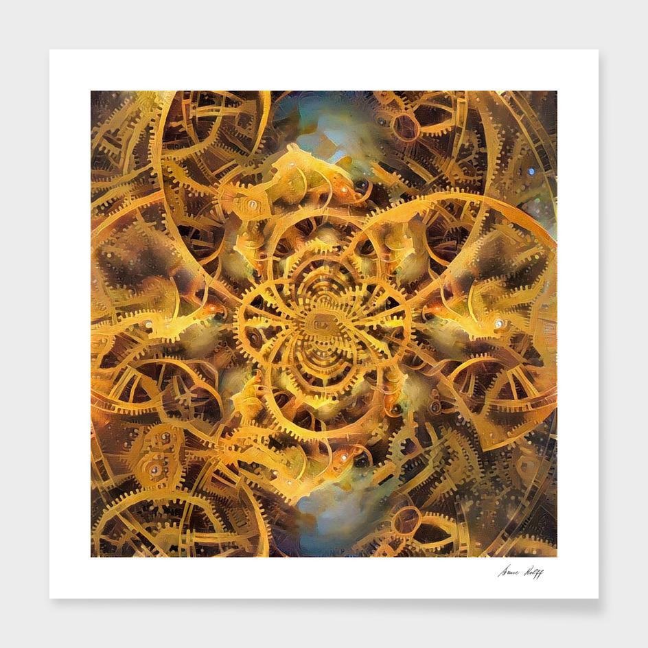 Golden Futuristic Clockwork Illustration