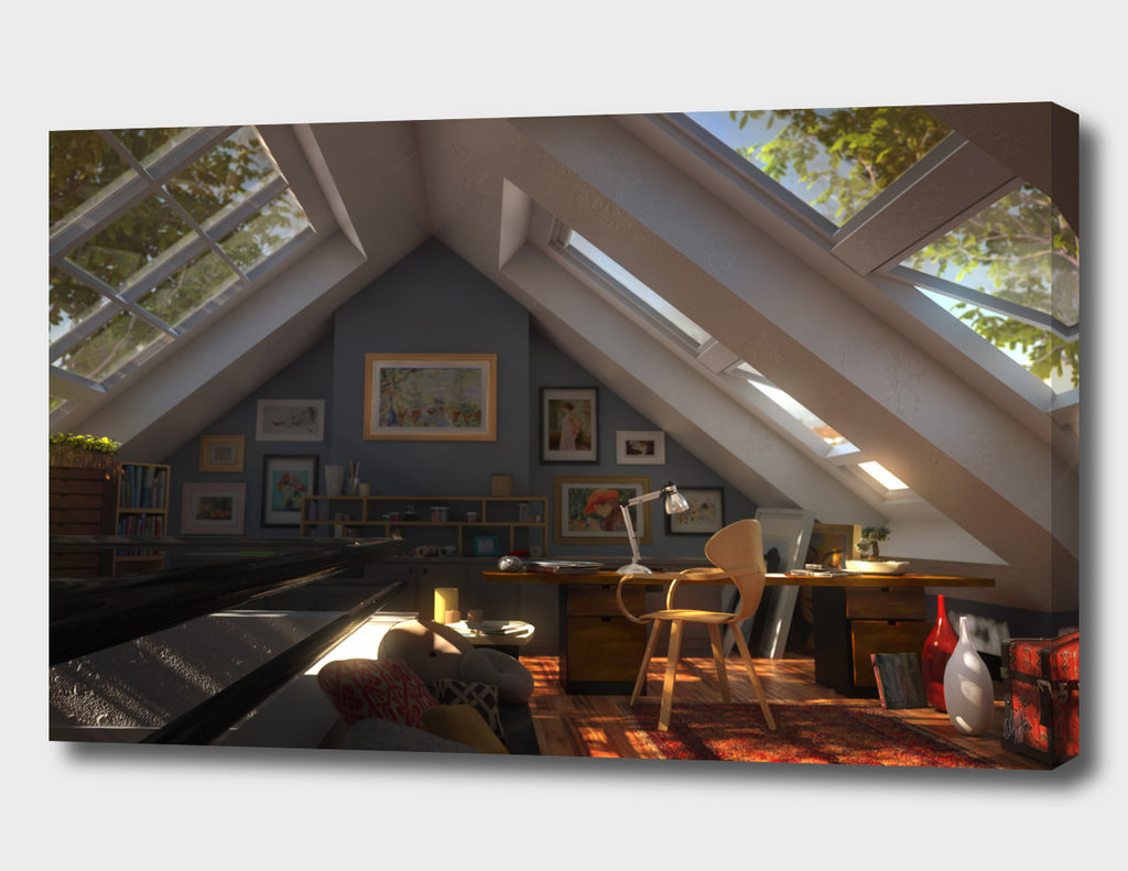 attic at the day