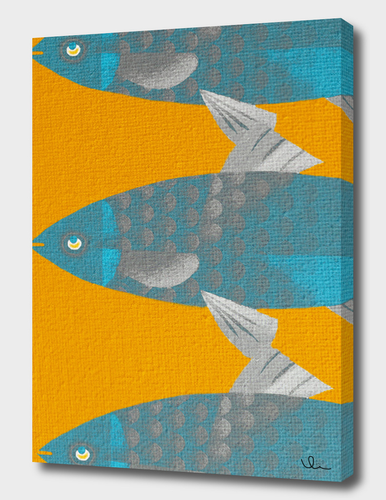 Blue Fish on a Yellow River