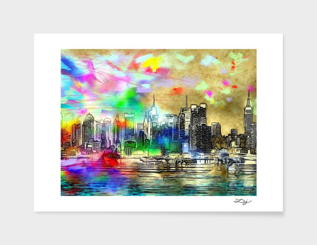 Rainbow NYC Skyline