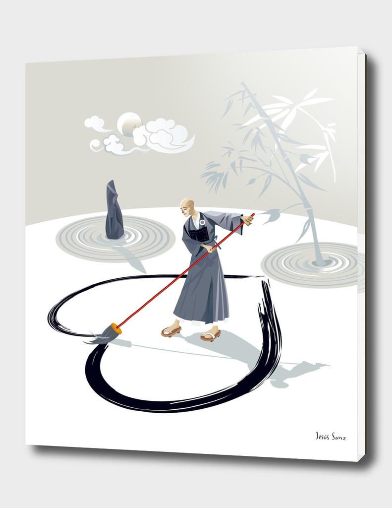 Zen Monk Painting A Heart