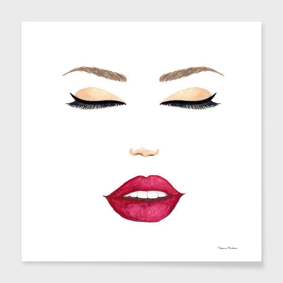 Watercolor stylized female face with red lips