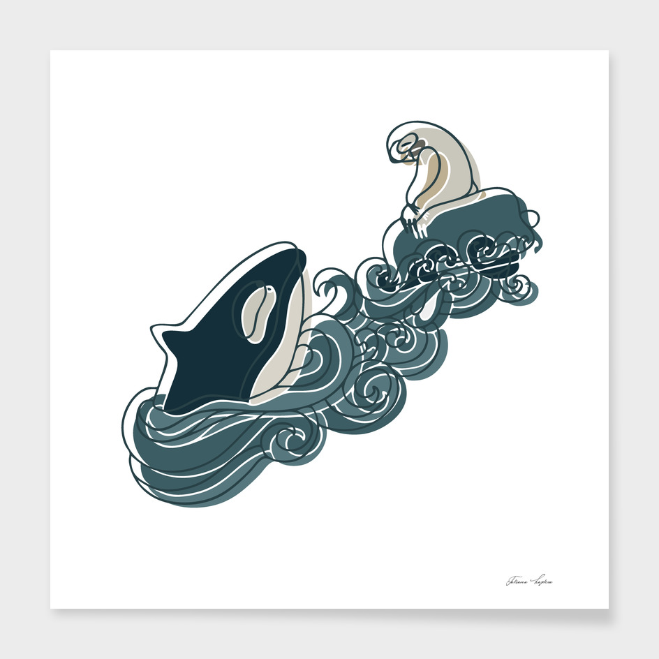 A whale and a sloth