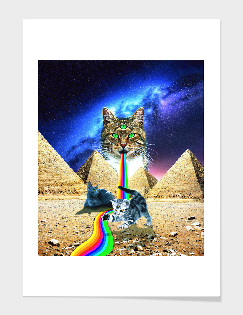 Trippy Three-Eyed Cat - Mystical Egypt