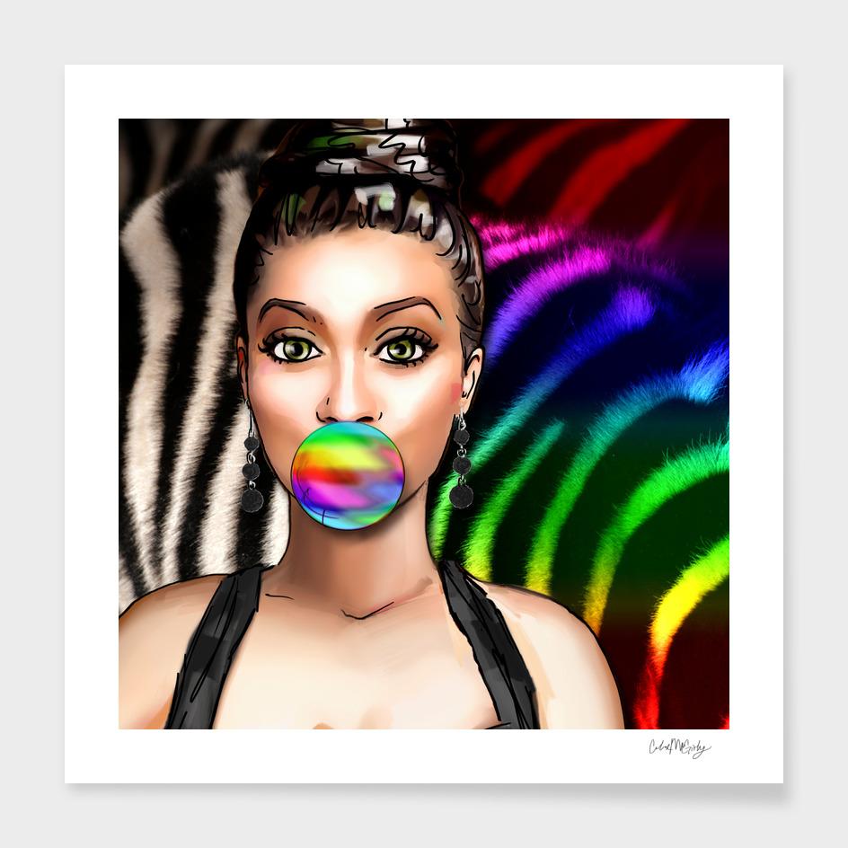 Retro Pinup Girl Rainbow Bubble Gum & Zebra Print