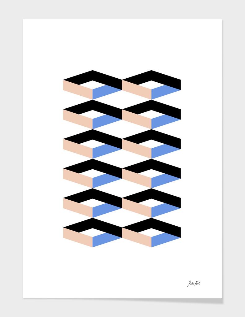 Retro Geometric Abstract Repeat Pattern Art Print