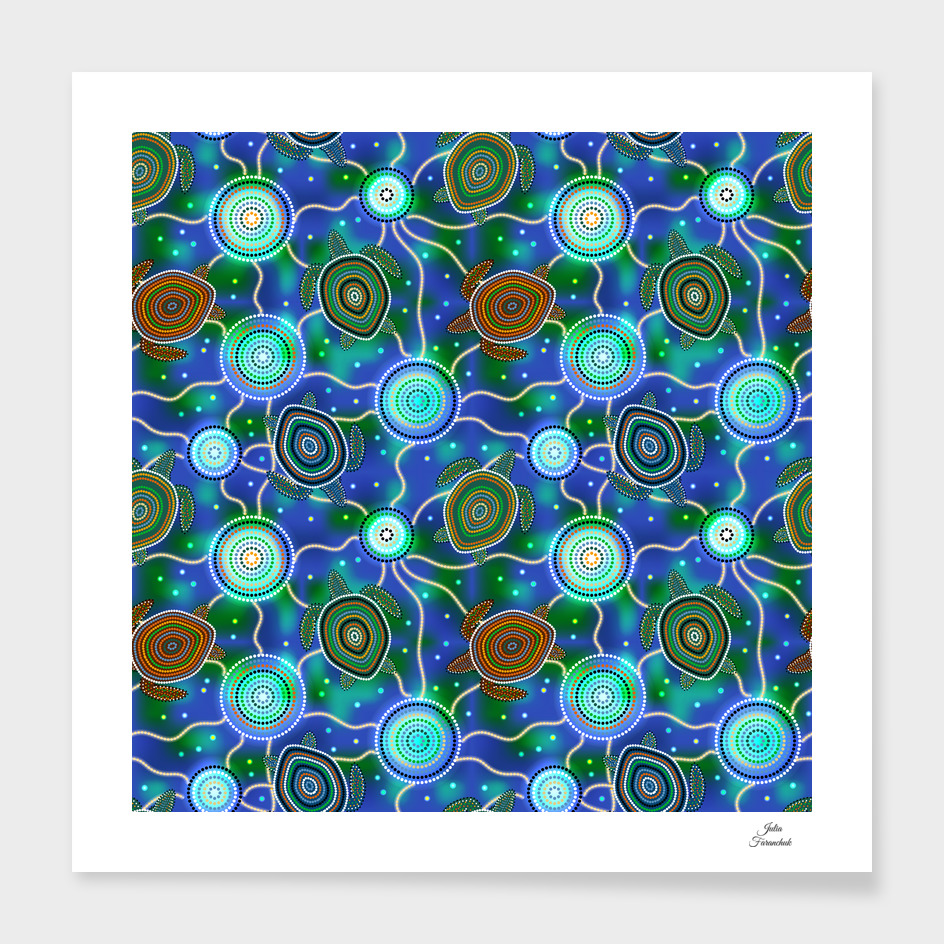 Sea turtles and jellyfish. Australian Aboriginal Art