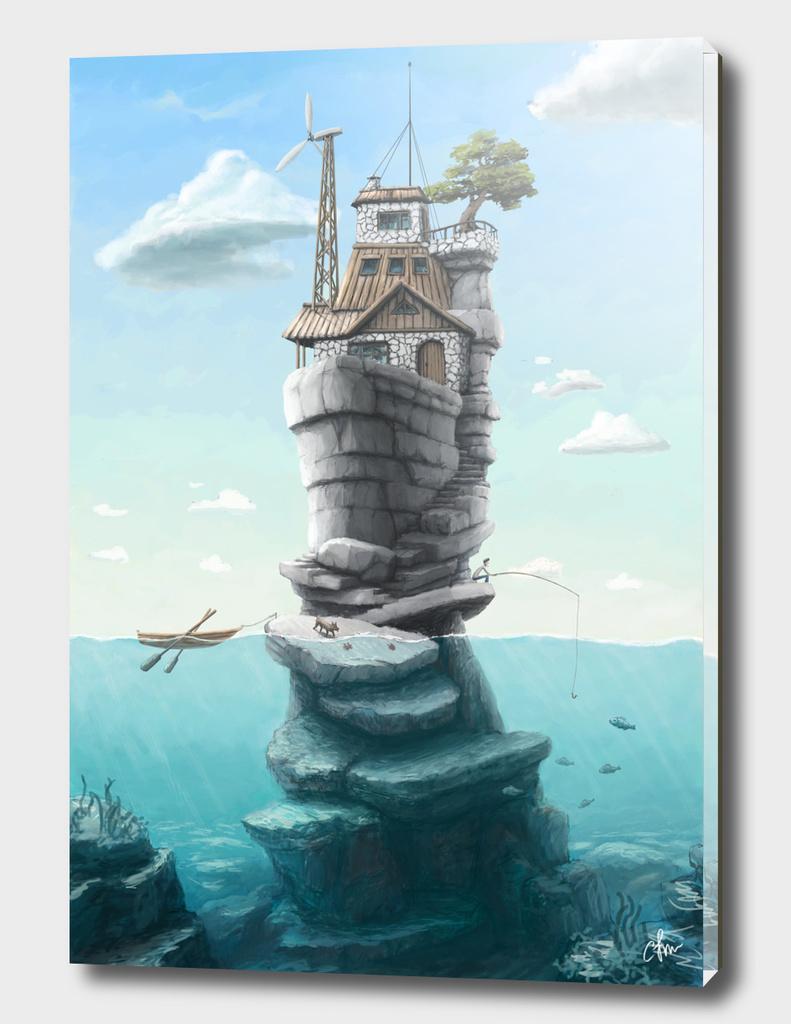 Lake stone house