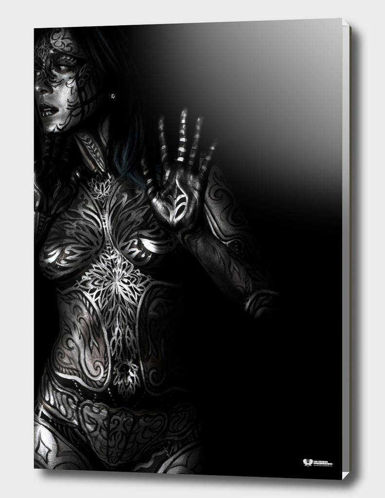 """Silver Armor"" bodypainting by Lana Chromium"