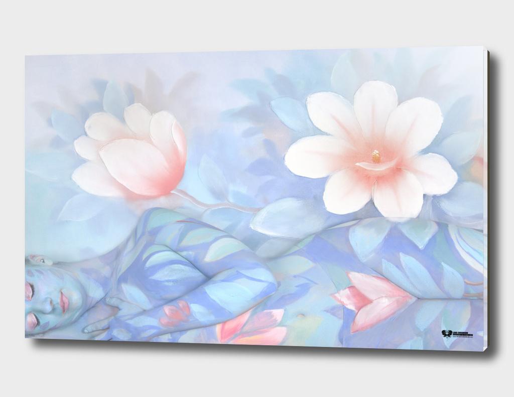 """ BLUE FLOWERS "" bodypainting art project by Lana Chromium"