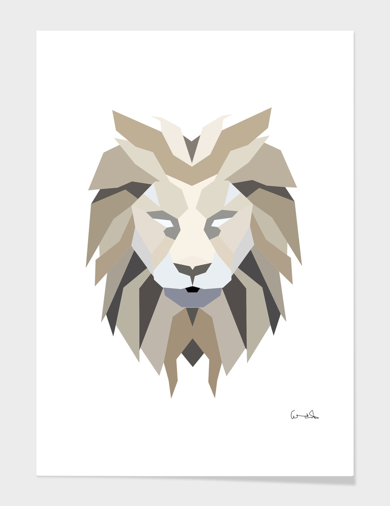 polygonal low poly lion feline