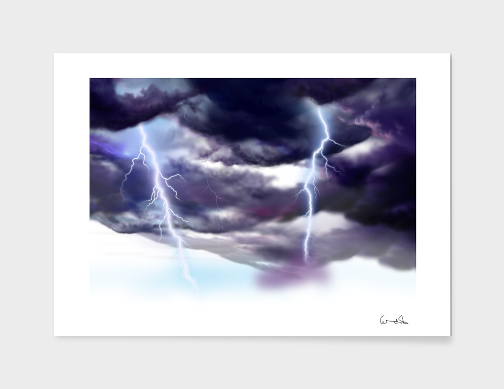 Thunder and lightning weather clouds painted cartoon