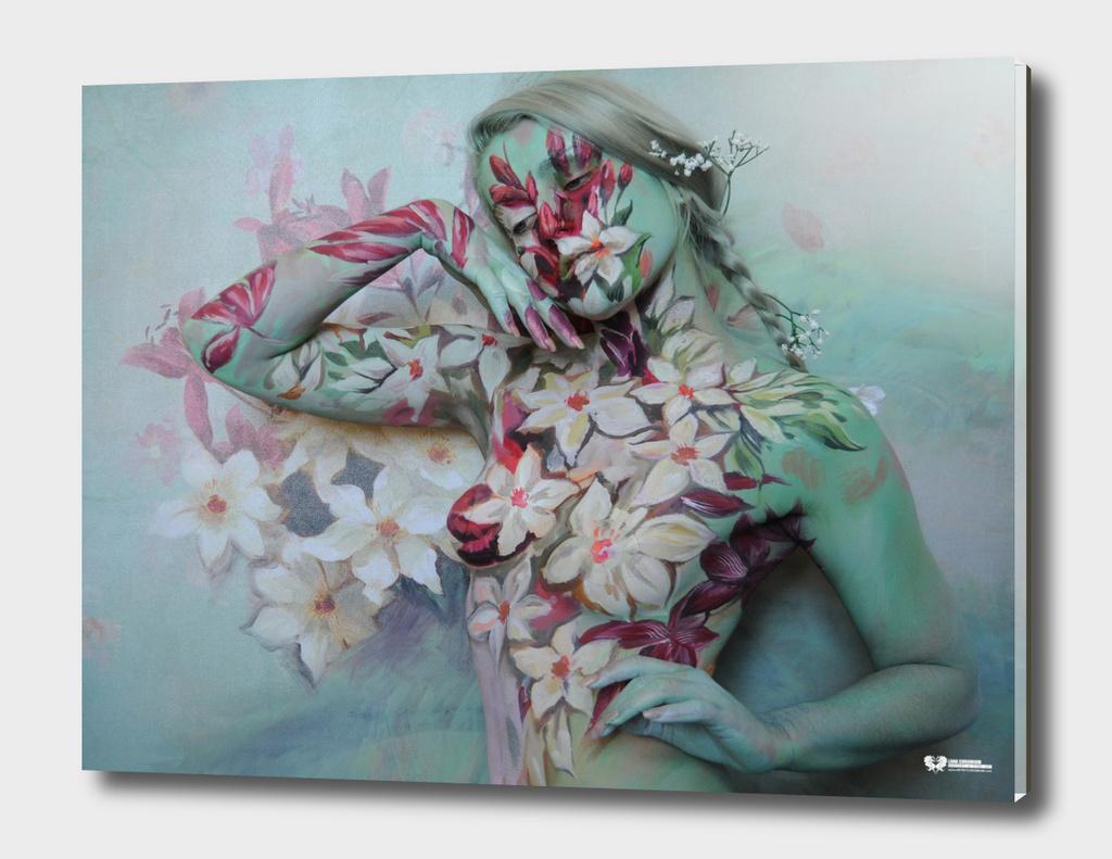 """FLOWERS"" bodypainting art by Lana Chromium - Wall art"