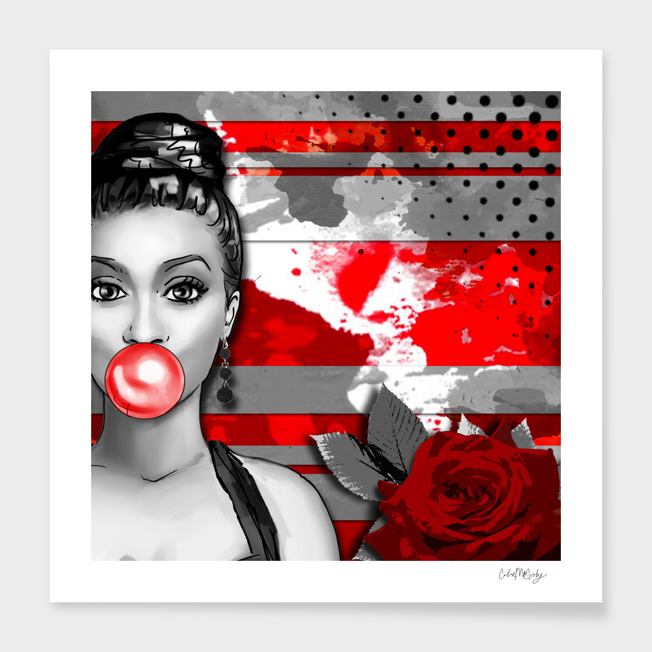 Trash Polka Retro Pinup Girl & Red Rose