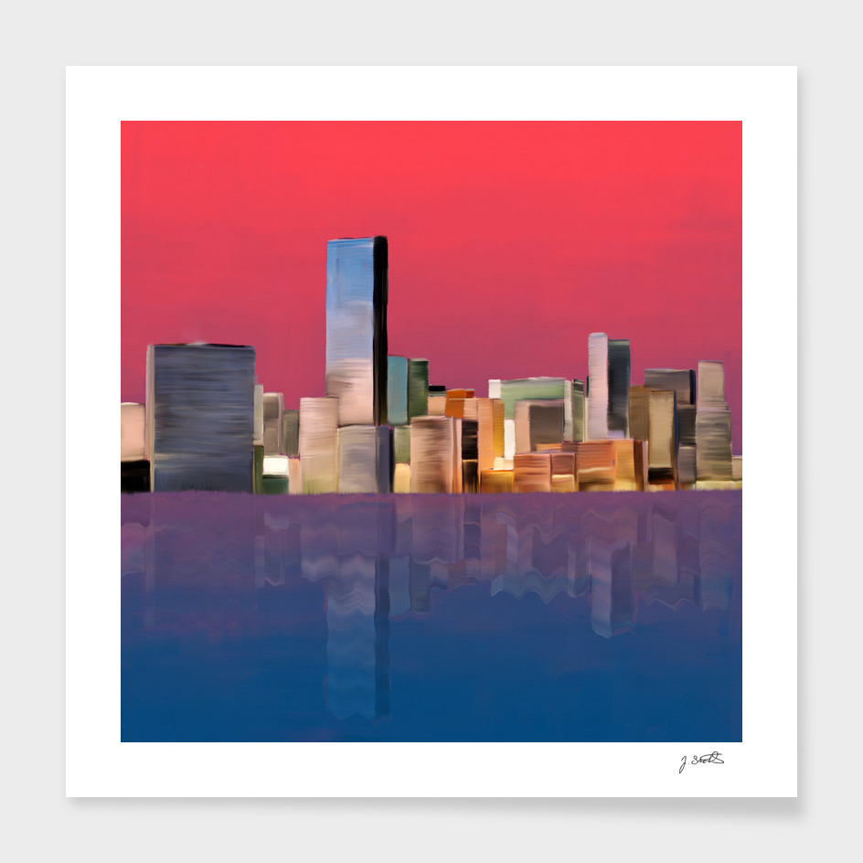 Miami Sunset, oil painting
