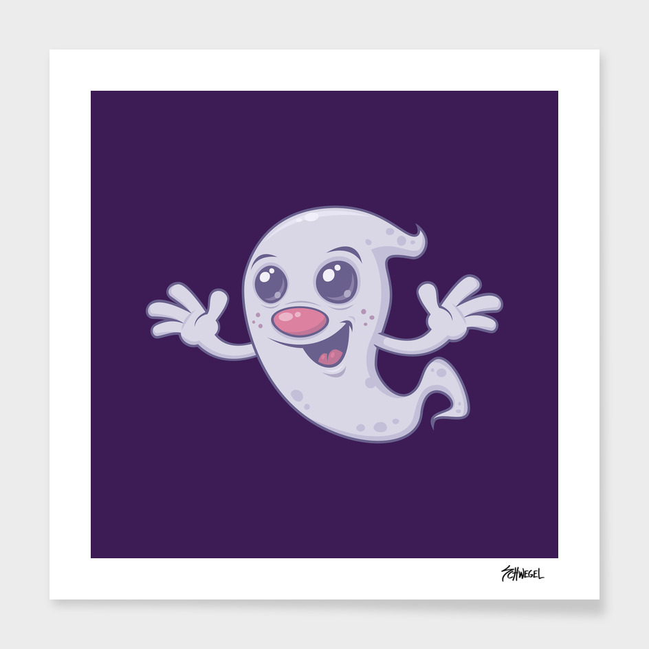Cute Retro Cartoon Ghost