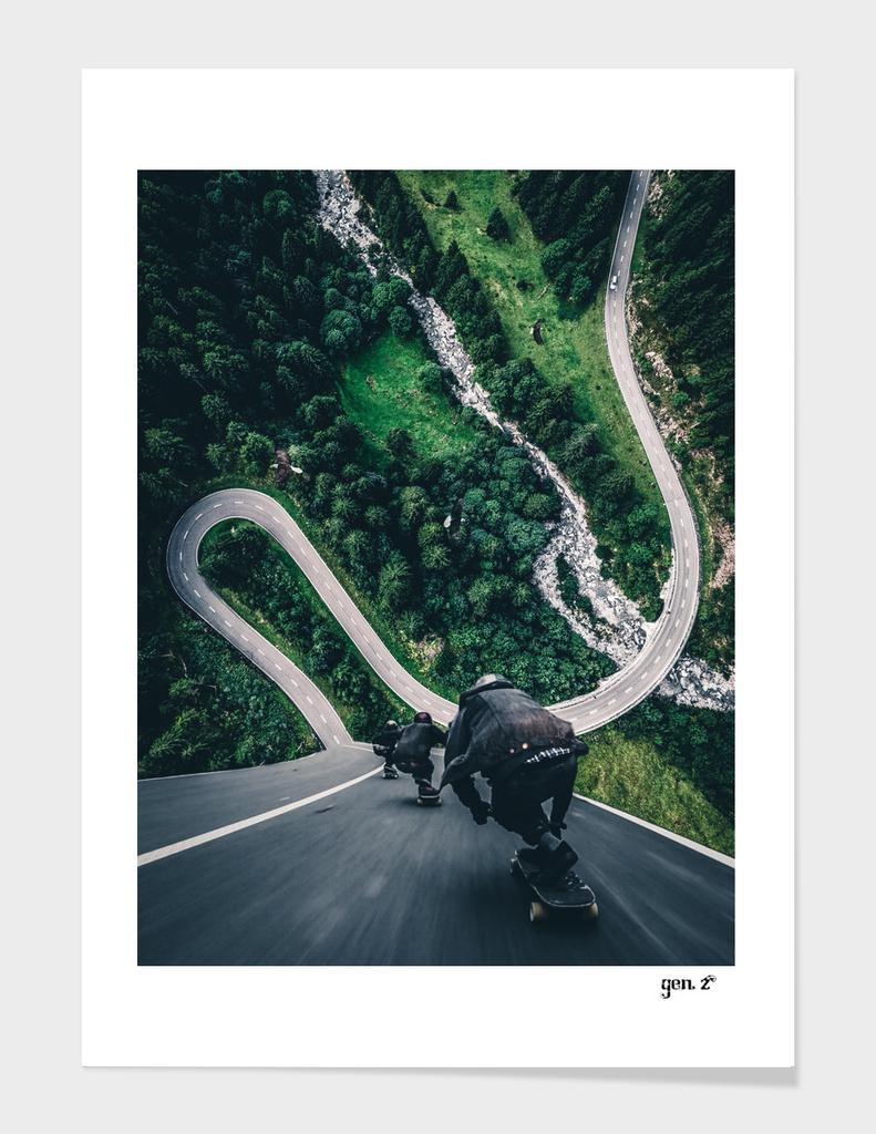 Crazy downhill skateboarders by GEN Z
