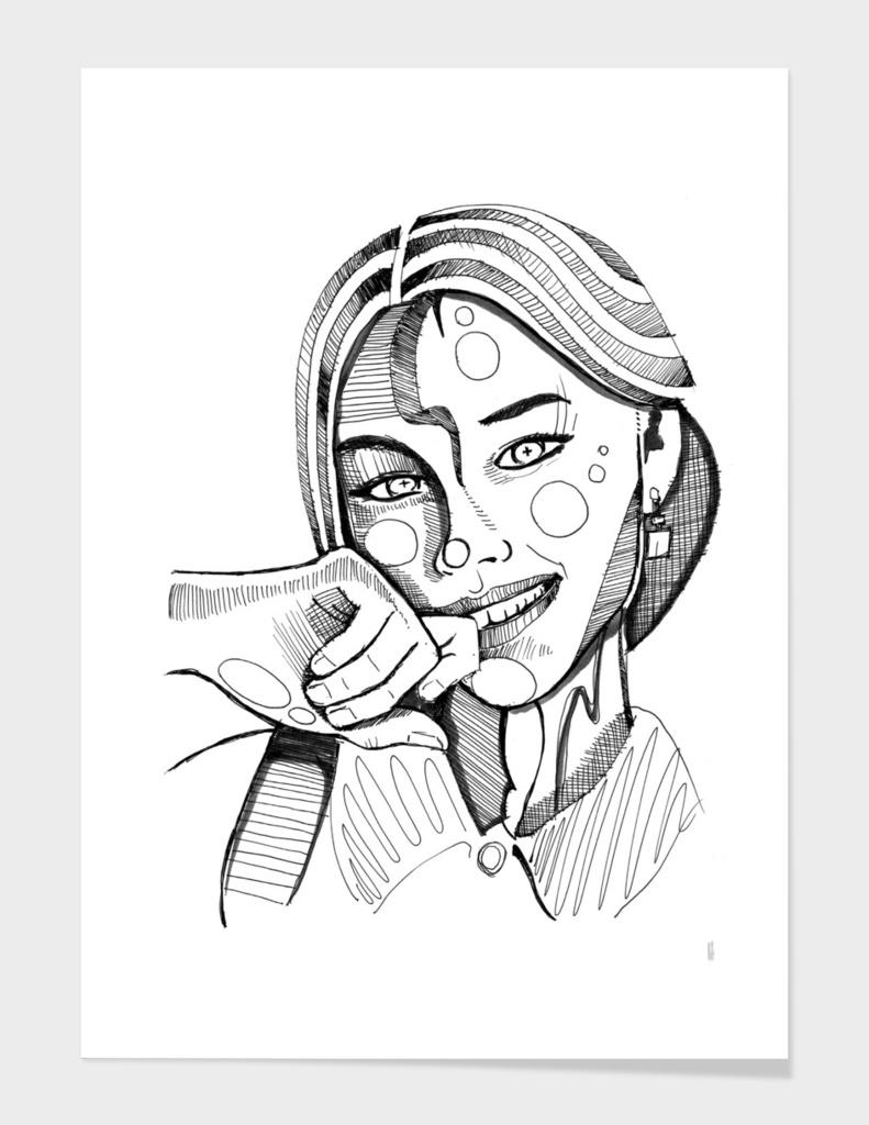 Happy Girl sketch lines