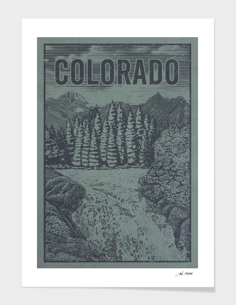 Colorado Waterfall Travel Poster