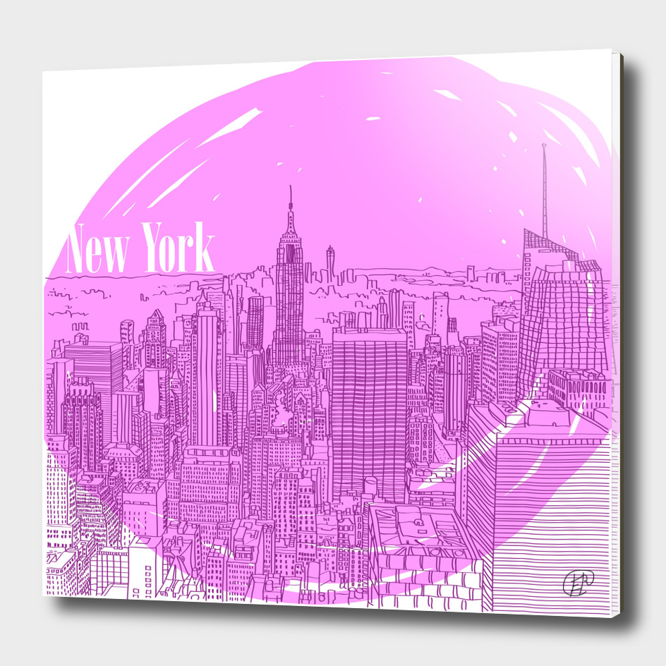 The city of New York. Pink color.