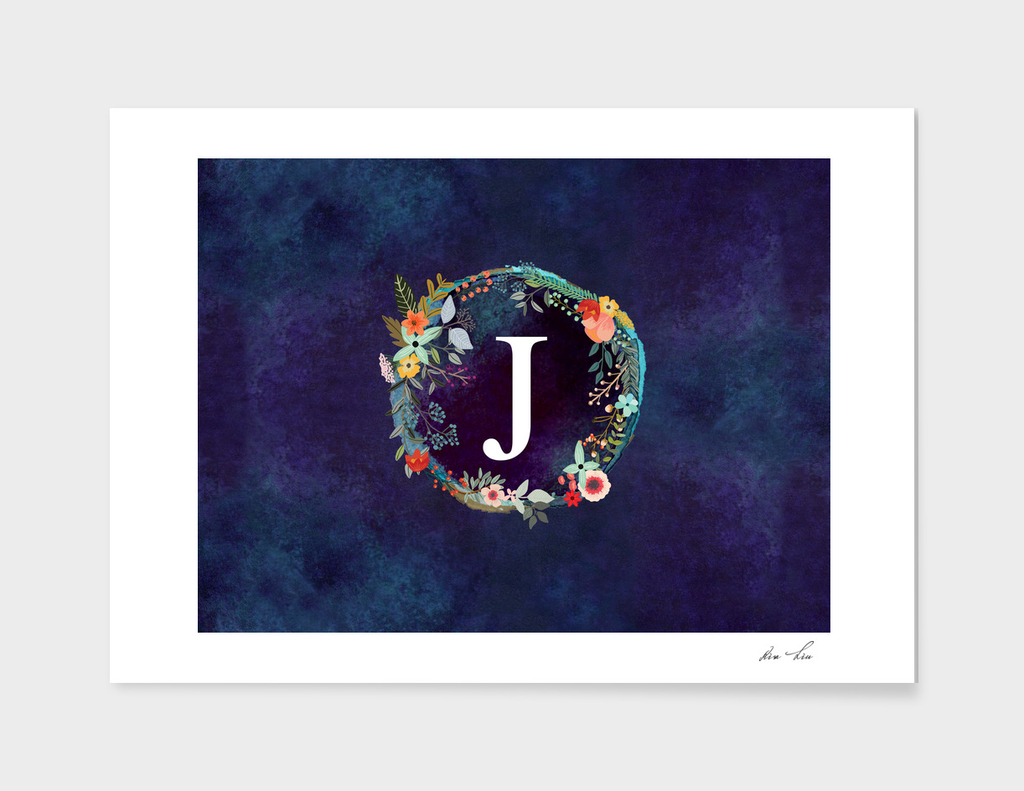 Personalized Initial Letter J Floral Wreath Artwork